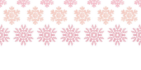 Red Christmas Snowflakes Geometric Textile Texture Horizontal Seamless Pattern Background Vector