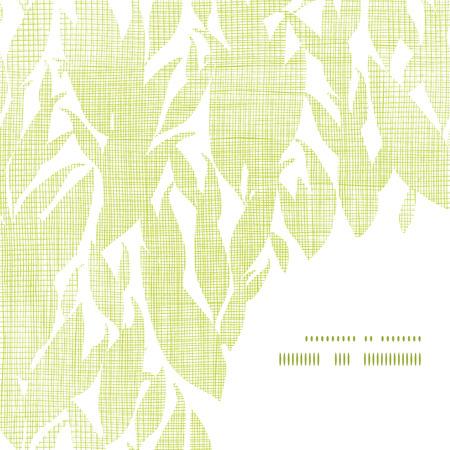 bush mesh: Green leaves textile texture frame corner pattern background
