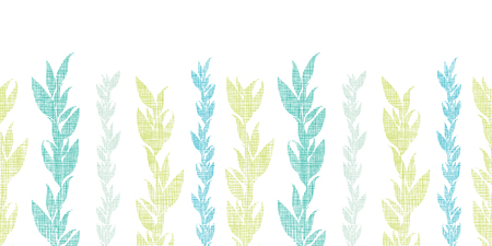 Blue green seaweed vines horizontal seamless pattern background Vector