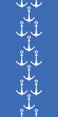 line pattern: Anchors blue and white vertical border seamless pattern background Illustration