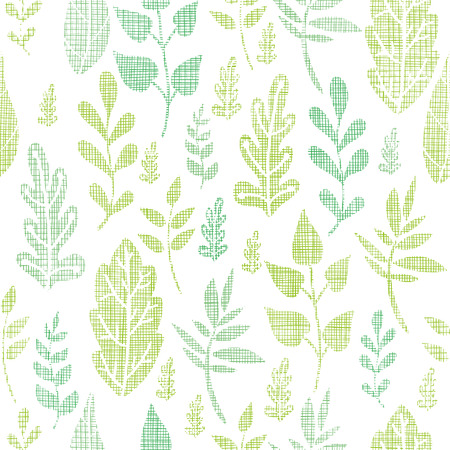 Textile textured spring leaves seamless pattern background Illustration