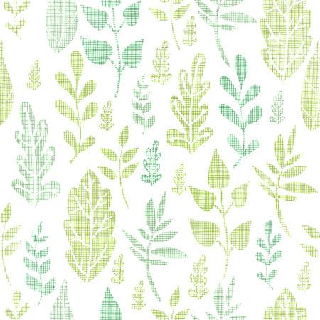 Textile textured spring leaves seamless pattern background Ilustração