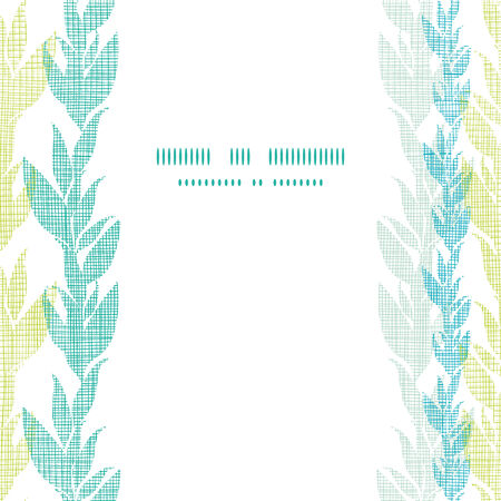 Blue green seaweed vines center frame seamless pattern background Vector