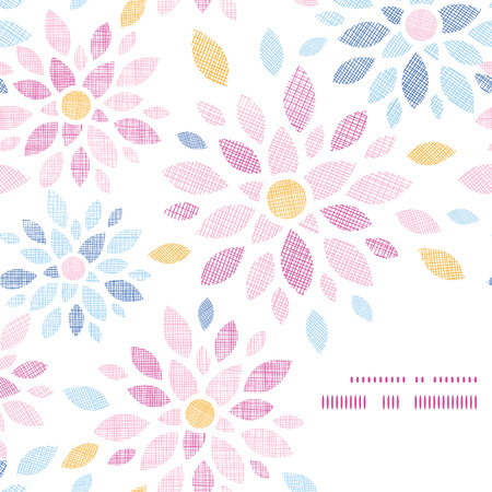 asymmetric: Abstract textile colorful flowers frame corner pattern background Illustration