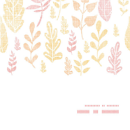 fall leaves: Textile textured fall leaves horizontal frame seamless pattern background