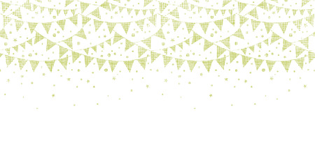 Green Textile Party Bunting Horizontal Seamless Pattern Background Vector