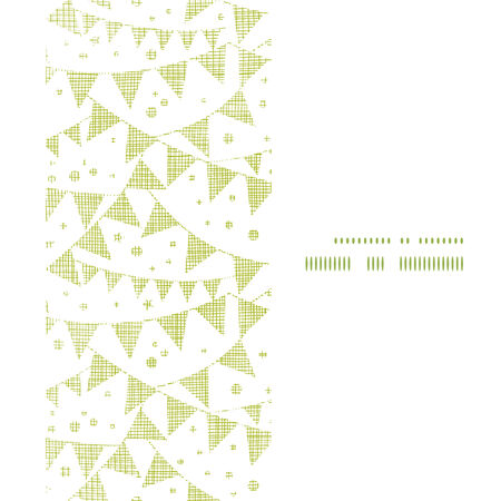 Green Textile Party Bunting Vertical Frame Seamless Pattern Background Vector