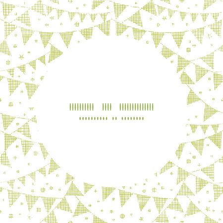 Green Textile Party Bunting Frame Circle Pattern Background Vector