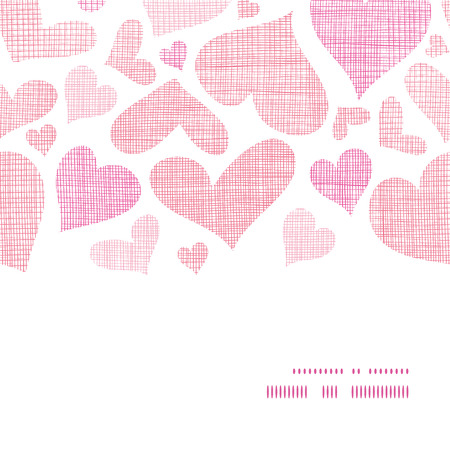 grid paper: Pink textile hearts horizontal frame seamless pattern background
