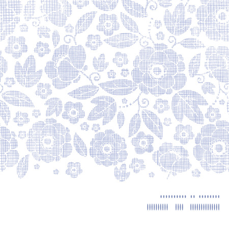 Purple textile flowers texture horizontal frame seamless pattern background Vector