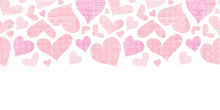 Pink textile hearts horizontal border seamless pattern background Illustration