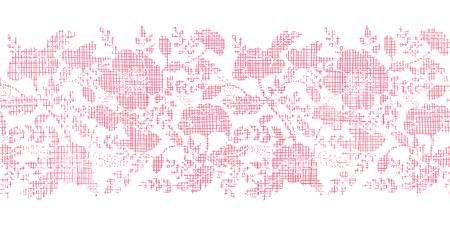 horizontal: Pink textile birds and flowers horizontal border seamless pattern background