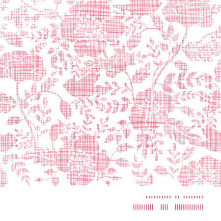 Pink textile birds and flowers horizontal frame seamless pattern background Illustration