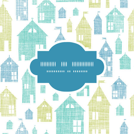 Houses blue green textile texture frame seamless pattern