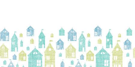 Houses blue green textile texture horizontal seamless pattern  Vector