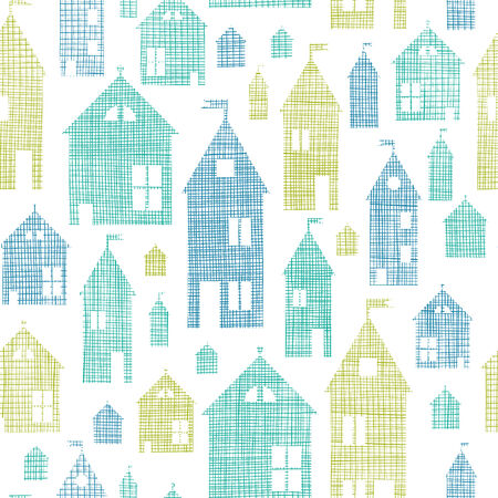Houses blue green textile texture seamless pattern background