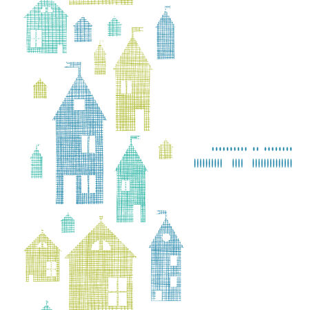 Houses blue green textile texture vertical seamless pattern  Vector