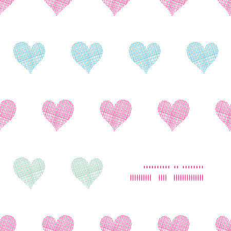Colorful polka dot textile hearts center frame seamless pattern background Illustration