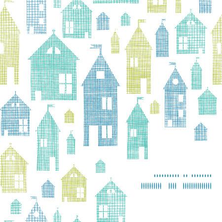 Houses blue green textile texture corner frame seamless pattern background Çizim