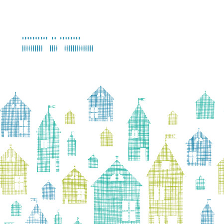 Houses blue green textile texture horizontal frame seamless pattern background Vector