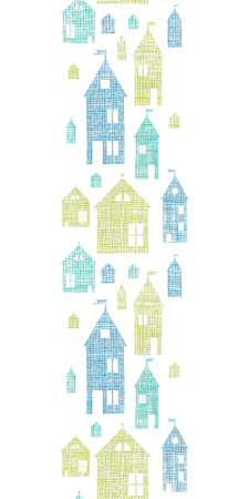 Houses blue green textile texture vertical seamless pattern background Vector