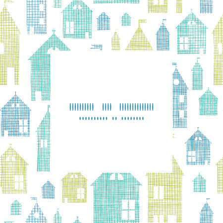Houses blue green textile texture frame center pattern background Vector