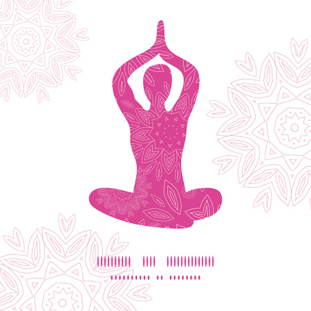 Woman in lotus yoga pose silhouette pink flowers pattern background frame Vector