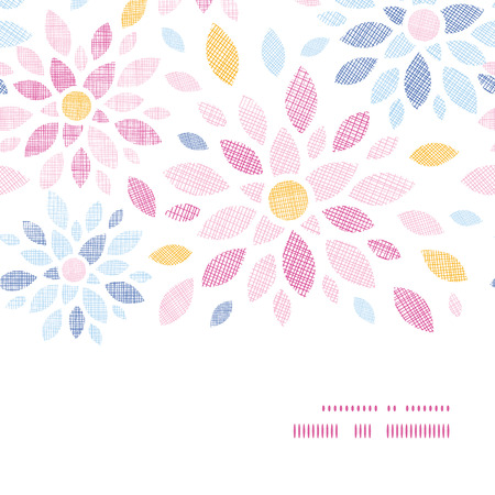 Abstract textile colorful flowers horizontal frame seamless pattern background  Vector