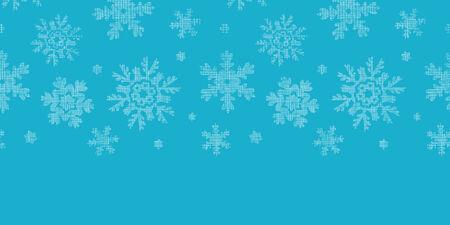 Blue lace snowflakes textile horizontal border seamless pattern background Vector