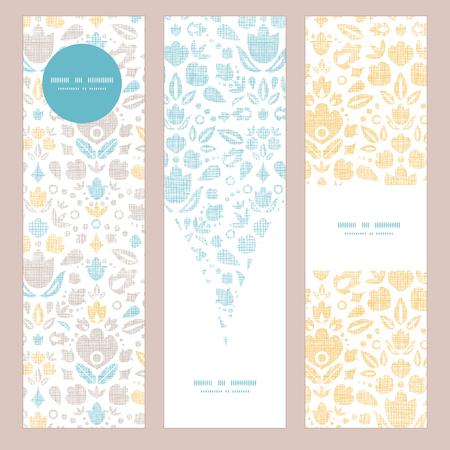 Abstract vintage ornamental tulips textile vertical banner set pattern background Vector
