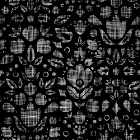 mesh: Abstract black lace ornamental tulips textile seamless pattern background