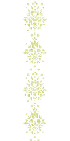 Green textile damask flower vertical border seamless pattern background