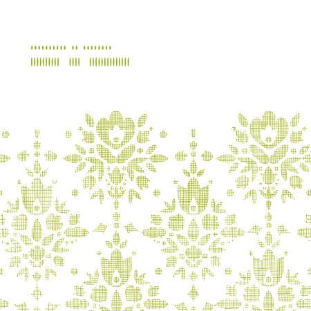 horizontal: Green textile damask flower horizontal frame seamless pattern background Illustration