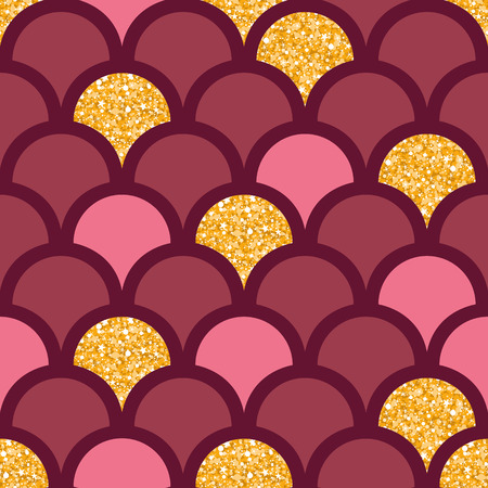 Gold glitter fish scale seamless pattern background