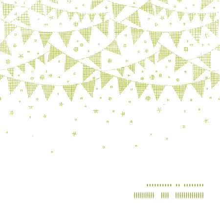 Green Textile Party Bunting Horizontal Frame Seamless Pattern Background Vector