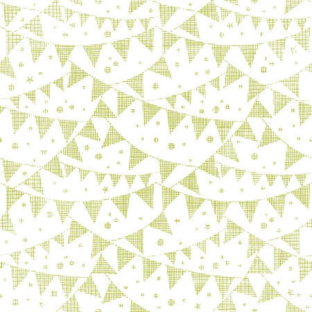Green Textile Party Bunting Seamless Pattern Background Vector