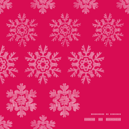 Vector red lace christmas snowflakes geometric textile texture frame corner pattern background