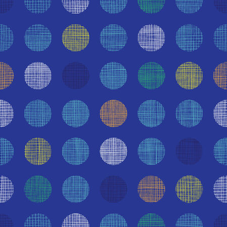 Abstract textile polka dots on blue seamless pattern background