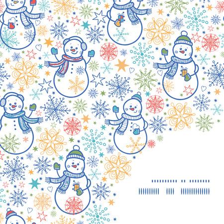 Vector cute snowmen frame corner pattern background Vector