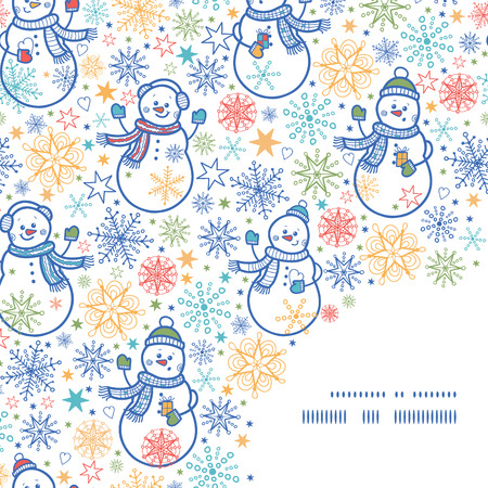 Vector cute snowmen frame corner pattern background Illusztráció