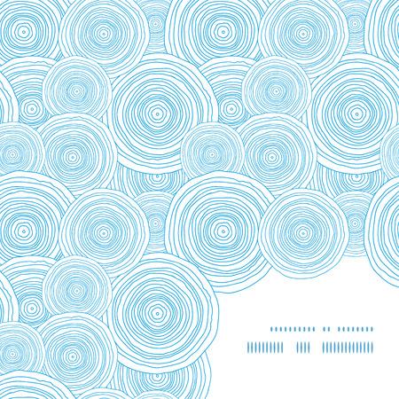 asymmetric: Vector doodle circle water texture frame corner pattern background Illustration