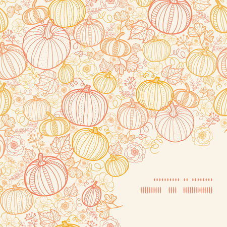 fall harvest: Vector thanksgiving line art pumkins frame corner pattern background