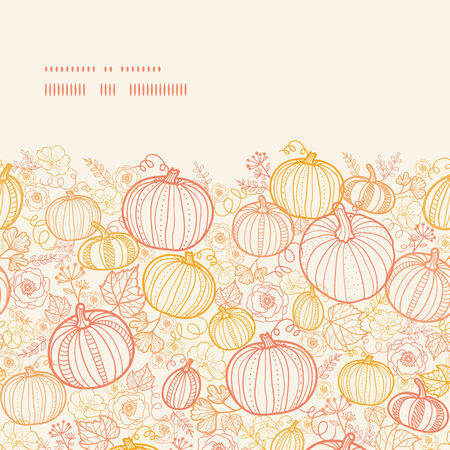 Vector thanksgiving line art pumkins horizontal frame seamless pattern background
