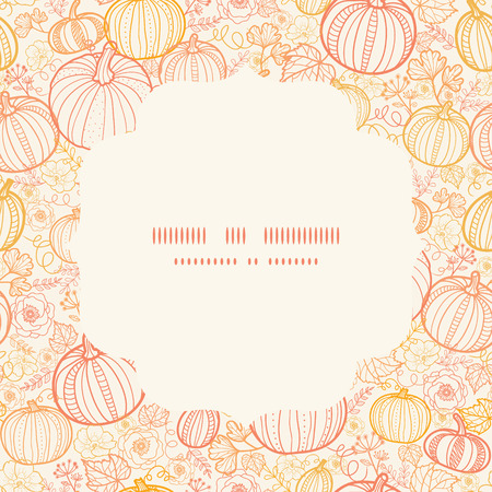 Vector thanksgiving line art pumkins circle frame seamless pattern background