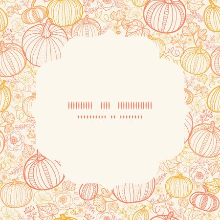 fall harvest: Vector thanksgiving line art pumkins circle frame seamless pattern background