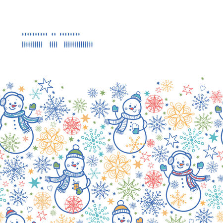 Vector cute snowmen horizontal frame seamless pattern background Vector