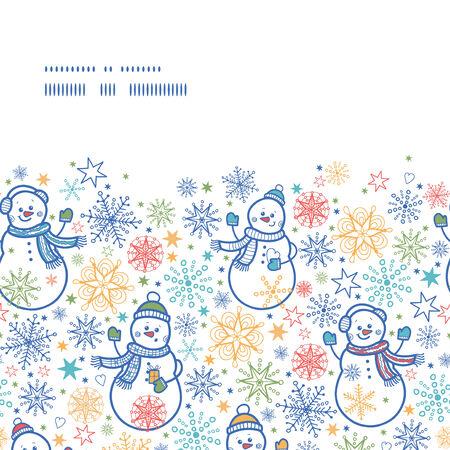 Vector cute snowmen horizontal frame seamless pattern background Illusztráció