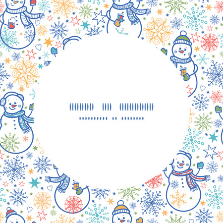 Vector cute snowmen circle frame seamless pattern background