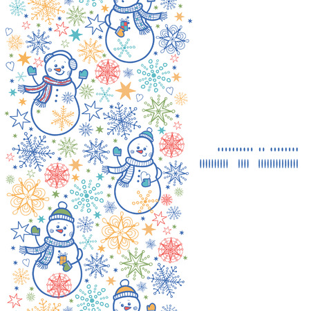 Vector cute snowmen vertical frame seamless pattern background Vector