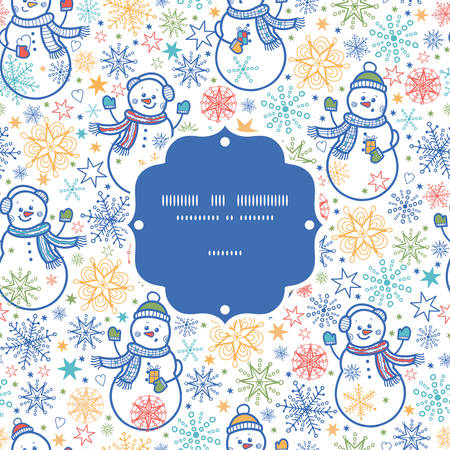 Vector cute snowmen frame seamless pattern background Vector